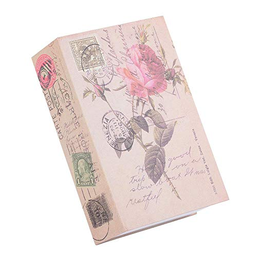 ASHATA Caja de Seguridad en Forma de Libro,Caja de Almacenamiento Creativa Vintage,Caja de Seguridad para Colección de Joyas de Dinero con Cerradura de Combinación de Metal((Rosa))