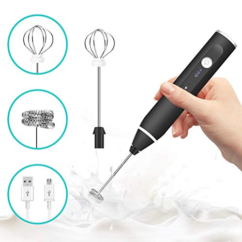 Eggbeater,2-in-1 Egg Whisk Mixer USB Rechargeable 3 Level Electric Milk Egg Blender Beater Frother Foamer Stirrer Kitchen Cooking Tool