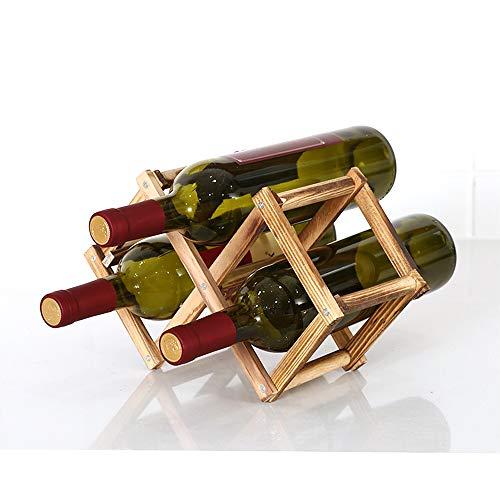 Estante de almacenamiento de vino plegable de pie y encimera para vino, estante organizador de mesa (3 botellas)