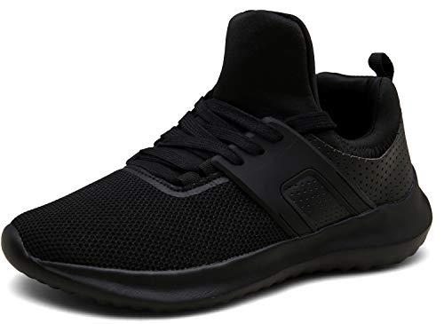 XKMON Laufschuhe Leichte Turnschuhe Fitness Schnürer Gym Sportschuhe für Herren Damen,XZ626-black-EU43