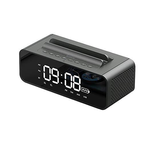CattleBie Mini Bed Head Radiowecker mit Computer-drahtlosem Bluetooth-Lautsprecher FM Radio Bewegliche Karten-Handy Kleinen Ton Bass Auto (Color : Gold)