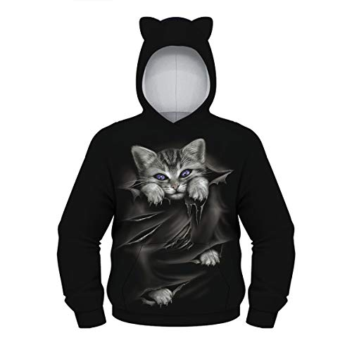 Boys Girls 3D Animal Print Unisex Hoodies, Morbuy Winter Autumn Kids Lovely Cat Ears Casual Long Sleeve Tracksuits Tops with Pocket Pullover Hoodie Jacket 6-12 Year (L (145-150cm),Black)