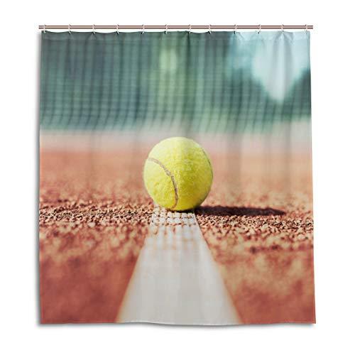 CPYang Duschvorhänge Sport Ball Tennis Wasserdicht Schimmelresistent Badvorhang Badezimmer Home Decor 168 x 182 cm mit 12 Haken