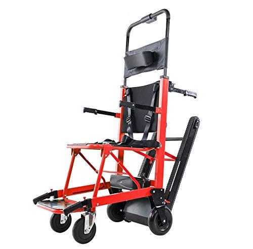 GLJY Treppensteigender Rollstuhl,Tragbarer Faltender Treppen-Stuhl,Batteriebetriebener Klappbarer Crawler-Kletterstuhl,350 Lbs Motorisierter Treppenstuhl,200W Emergency Stair Kletterstuhl,Rot