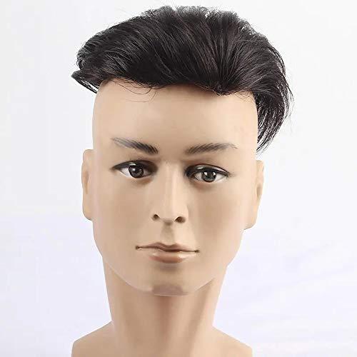 DYecHenG Perruque Tissé Vrais Cheveux Bloc Perruque Homme sans Couture Hairline Réédition Top Main pour Party Show (Color : Black, Size : One Size)