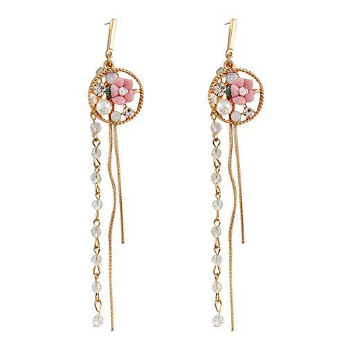 Yosemite Women Simple Eardrop Flower Long Tassel Drop Dangler Stylish Ear Stud Earrings Ear Pendants Decor Pink