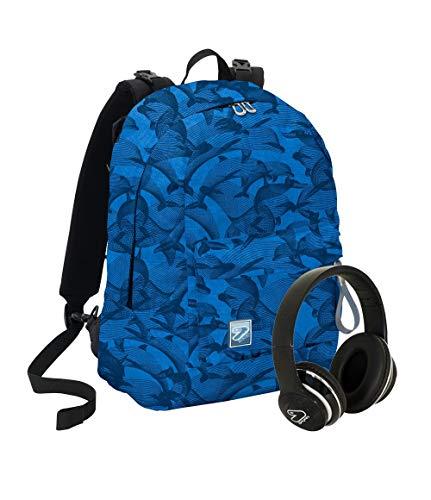 Zaino SEVEN THE DOUBLE - SPECIAL EDITION Eco material - Blu - Cuffie wireless - 2 zaini in 1 REVERSIBILE