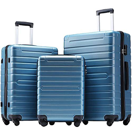 BESPORTBLE Maleta Giratoria Ligera de Concha Dura Maleta con Ruedas Giratorias Y Cerradura TSA 3 Unids/Set (Azul Acero)