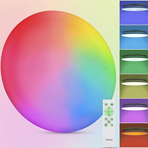 BULING Lámpara de techo LED RGB, regulable, 24 W, cambio de color con mando a distancia, redonda, IP54, resistente al agua, para habitación de los niños, dormitorio, salón, baño, diámetro de 30 cm