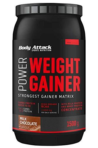 Body Attack Power Weight Gainer, 100{d074ca5887081996afd34470feab4e335d3fdcc58290015155c492e72d0270ad} Masseaufbau, Kohlenhydrat-Eiweißpulver zum Muskelaufbau mit Whey-Protein, ideal für Hardgainer (Milk Chocolate, 1,5 kg)