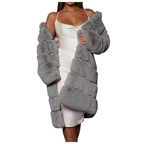 LIHAEI Pelzmantel Damen Winter Mantel Warm Faux Fur Kunstfell Coat Winterjacke Grosse GröSsen Elegant Fellmantel S-XXXXL