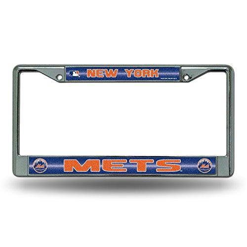Rico FCGL5801 MLB New York Mets Bling License Plate Frame, Chrome, 12 x 6-Inch