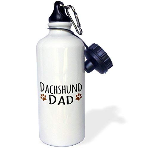 GFGKKGJFD603 Dachshund Dog Dad-Doggie by breed-brown Muddy paw prints-doggy lover orgulloso Pet propietario Love White aluminio Deportes Botella de agua divertido novedoso botella de agua con pajita para gimnasio camping regalos