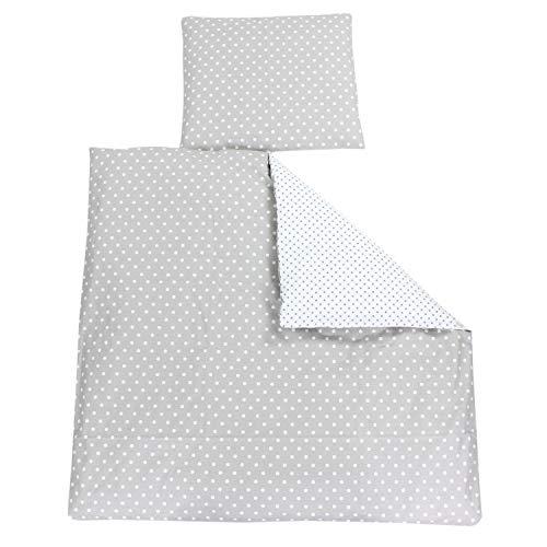 TupTam Unisex Baby Bettwäsche Wiegenset 4-teilig, Farbe: Tupfen Weiß/Tupfen Grau, Größe: 80x80 cm