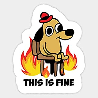 This is fine on fire meme Vinyl Sticker