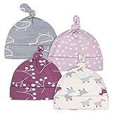 Grow by Gerber Baby Girls Organic 4-Pack Caps, Grey/Pink/Ivory, Newborn
