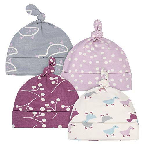 Grow by Gerber Baby Girls Organic 4-Pack Caps, Grey/Pink/Ivory, 0-6 Months