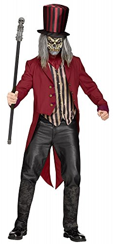 shoperama Freak Show Ring Master Herren-Kostüm Gruseliger Horror Zirkusdirektor Halloween Dompteur Skelett Zombie, Größe:L