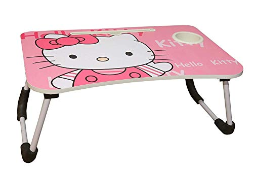 M G Enterprise Marketing Foldable Laptop Kitty Cartoon Printed Kids Study Table with Tablet Stand and Cup Holder for Kids