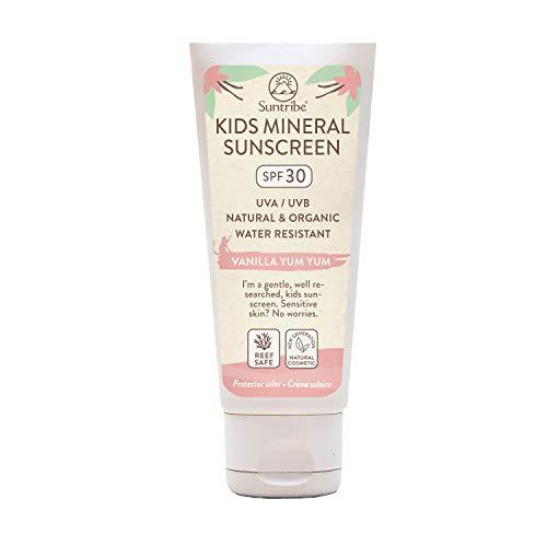 Suntribe Mineralische Bio-Kindersonnencreme LSF 30 - Mit natürlicher Vanille - Nanofreies Zinkoxid (Mineralischer UV-Filter) - Riffsicher - 8 Inhaltsstoffe - Wasserfest (100 ml)