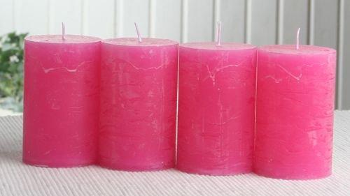 SET: 4x Rustik-Stumpenkerze, 8 x 5 cm Ø, pink