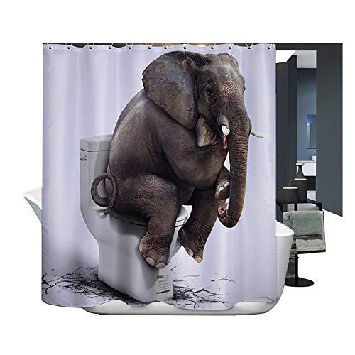Harson und Jane Duschvorhang, Digitaldruck, wasser- & schimmelresistent, Duschvorhang, Badematte, Sit Elephant, 180cm(wide)×220cm(high)