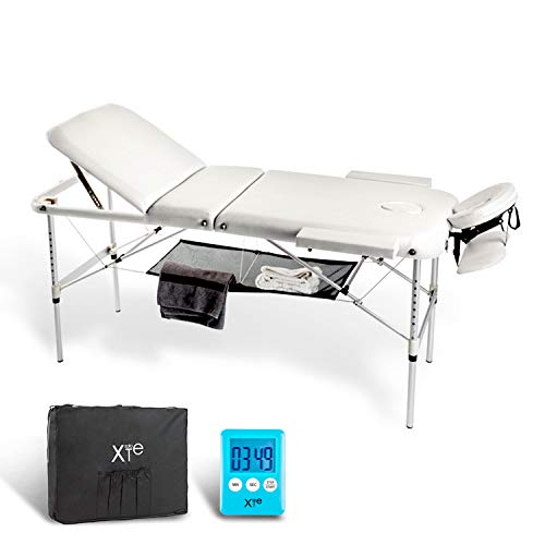 Camilla de masaje, 3 zonas, de aluminio, portátil y