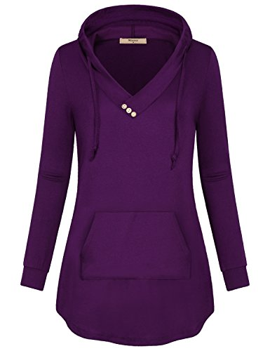 Miusey Hoodie Tunics,Young Women's Teen V Neck Shirt Adorned with Collar Button Cargo Pocket Hooded Sweatshirt Hoodies Zulily Workout Clothing Loose Hem Top Purple S