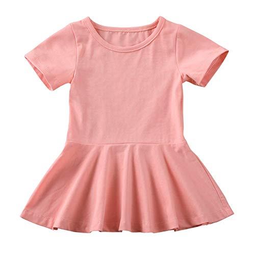 doublebabyjoy Summer Clothes Short Sleeve One-Piece Dress Ruffle Hem Short Skirt Solid Princess Dresses (Pink, 0-6 Months)