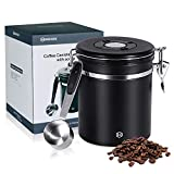 Coffee canister for Beans or Grounds - HEIHOX Stainless Steel coffee container airtight with scoop - CO2 Release Valve(free-vented), Date Tracker, 17.6oz, Black