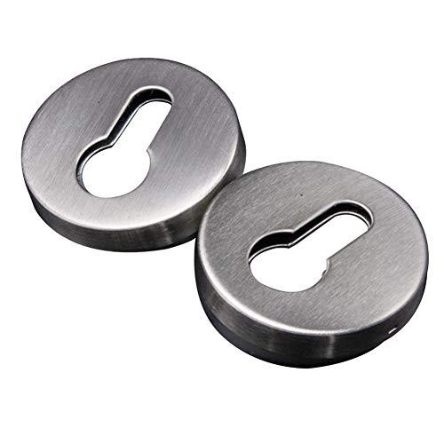 Juego de 2 pares de cubiertas para cerradura de llave desmontables de alta resistencia, redondas, de acero inoxidable con tornillos, resistente al desgaste, antircorrosión, cepillado