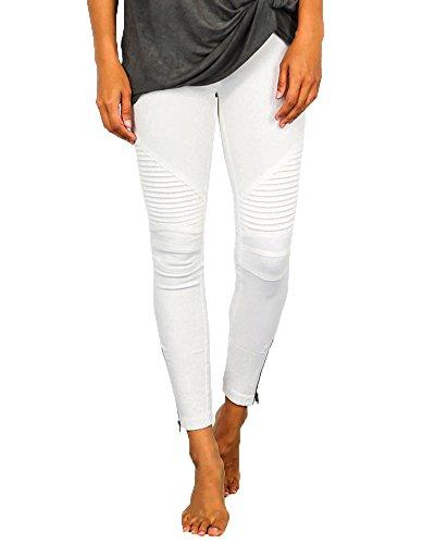 Damen Slim Fit Jeans Stretch Lässige Leggins Hose Mit Reißverschluss Weiß S