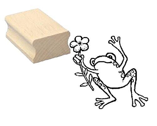 Stempel FROSCH mit BLUME - Motivstempel aus Buchenholz