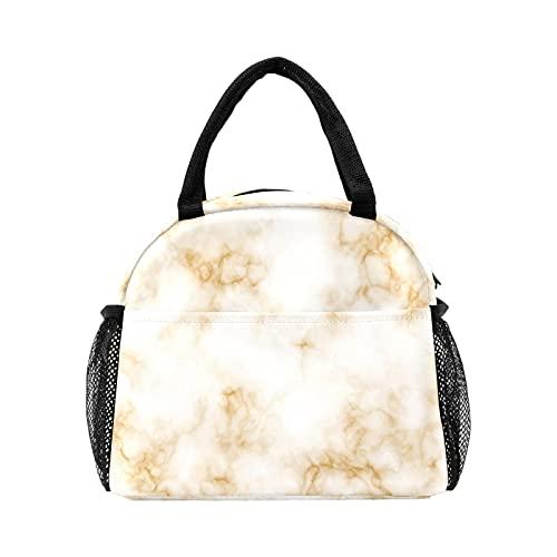 Bolsa de almuerzo de mármol naranja para las mujeres con aislamiento personalizado reutilizable caja de almuerzo térmica enfriador bolsa de asas para el trabajo Picnic