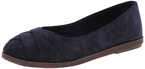 Blowfish Women's Glo Flat, Solid Black Cozumel Linen, 8 Medium US