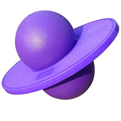 FURTHERNEXT Pogo Ball Bounce Stand with Trick Board & Ball Pump, Pogo Jumper Toy by Air Kicks for Kids Ages 6 & Up and Adults, Great Gift for Kids (Purple)