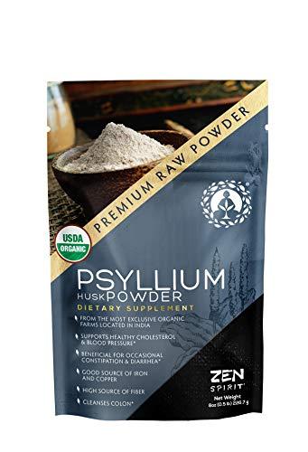 Psyllium Husk Powder - 0.5 LB (8 oz) Indian Organic Fiber Premium Grade Superfood (Raw) - USDA & Vegan Certified - - Perfect for Smoothies, Baking, Desserts & Breakfast.