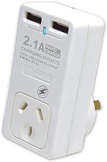 Sansai Dual USB Mains Charger w/ Surge Protected Socket 2.1AMP Power Supply