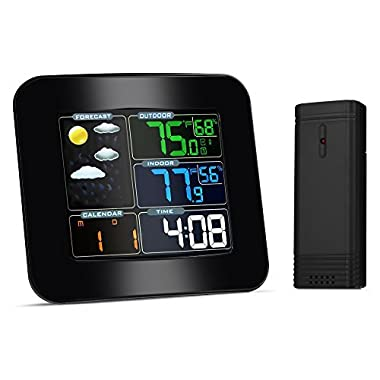 iLifeSmart Forecast Weather Station Alarm Clock with Indoor / Outdoor Wireless Sensor, Temperature Humidity Monitor Thermometer, Time Date Display Function for Home/Kitchen/Office(weather clock)