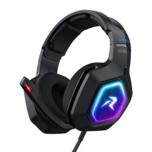 Redlemon Audífonos Gamer con Sonido HD 360° y Luz LED RGB, Micrófono con Cancelación de Ruido, Cable Auxiliar 3.5 mm, Cable de...