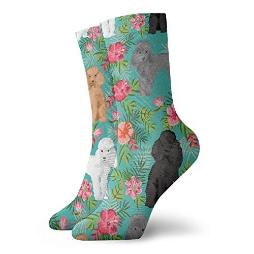 Calcetines hawaianos de caniche calcetines clásicos de ocio deportivos cortos 30 cm/11.8 pulgadas adecuados para hombres y mujeres