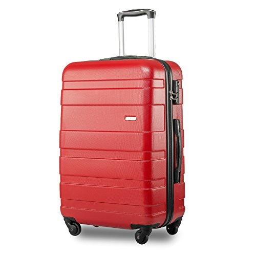 Lightweight Hard Shell 4 Wheel Travel Trolley Suitcase Luggage Set Holdall Cabin Case (S, red)