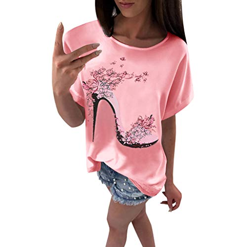 Camisetas Mujer Manga Corta Baratas SHOBDW 2019 Nuevo Sexy Cuello Redondo Tacones Altos Impresión Suelto Blusas Pullover Playa de Verano Casual Camisetas Mujer Tallas Grandes S-3XL(Rosa,M)
