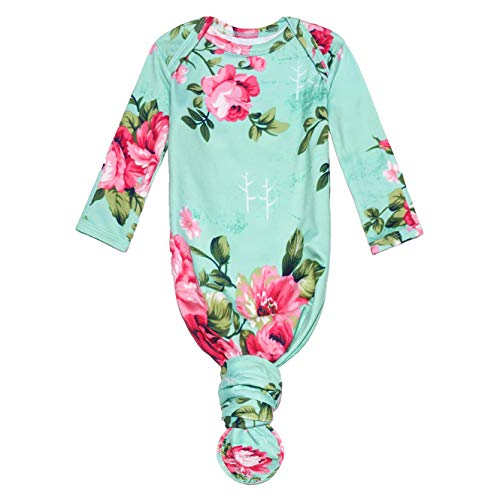 Posh Peanut Baby Soft Gown for Girls - Viscose from Bamboo Infant Layette Swaddle Wear - 0-3 months - Aqua Floral