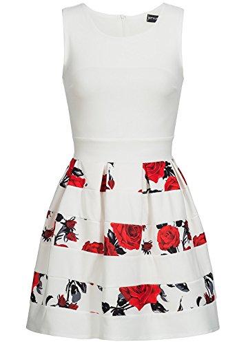 Styleboom Fashion® Damen Mini Kleid Blumen Muster gestreift ärmellos Weiss rot schwarz, Gr:XL