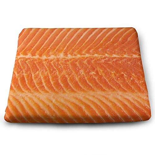 Unique Salmon Fish Close-Up Food Texture Print Chair Seat Cushions Pads Set Of 4 Memory Foam Office Dining Kitchen Soft Chair Cushion for Pressure Relief, Wheelchairs, Car, Outdoor, Floor, Lawn, Non S