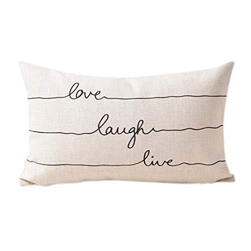 LaLe Living Funda de cojín decorativa de 30 x 50 cm, diseño con texto Love Laugh live