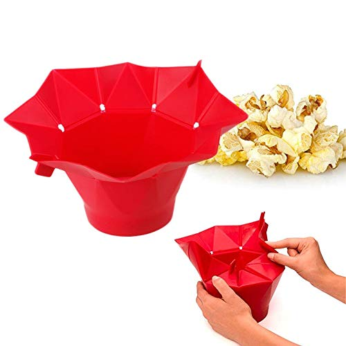 Best Price Red Green Popcorn Fold Microwave Silicone Maker Kitchen Tool Bucket New DIY