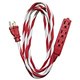 9-Foot Candy Cane Striped Extension Cord with 3 Grounded Outlets, Red/White