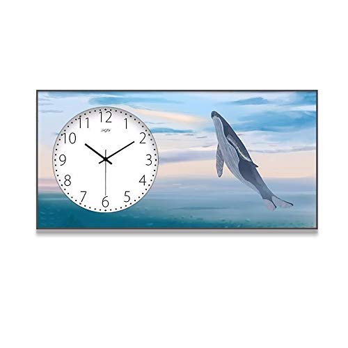 WNN-URG Reloj de Pared Decorativo, Moda Mute Reloj de Pared Rectangular, Paisaje del Marco de Aluminio Vertical Reloj Creativo de Pintura Decorativa (Tamaño: 40 * 80 cm) URG (Size : 40 * 80cm)